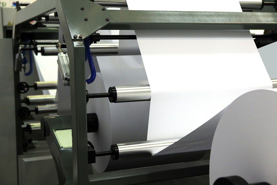 photo of big offset printing machine for newspapers