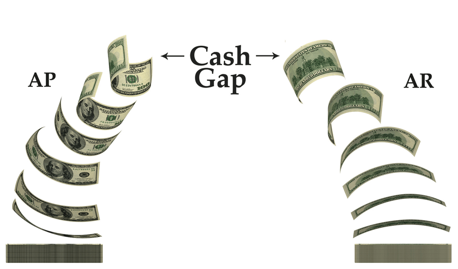 cash in pile with money flowing up and over to cash out pile